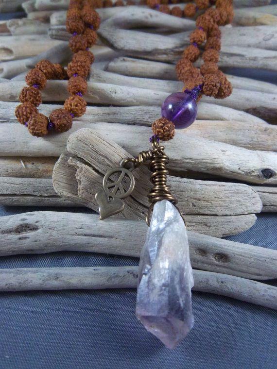 Rudraksha Seed Mala Prayer 108 Beads 108 Mala by JewelrybySuzie, $78.95