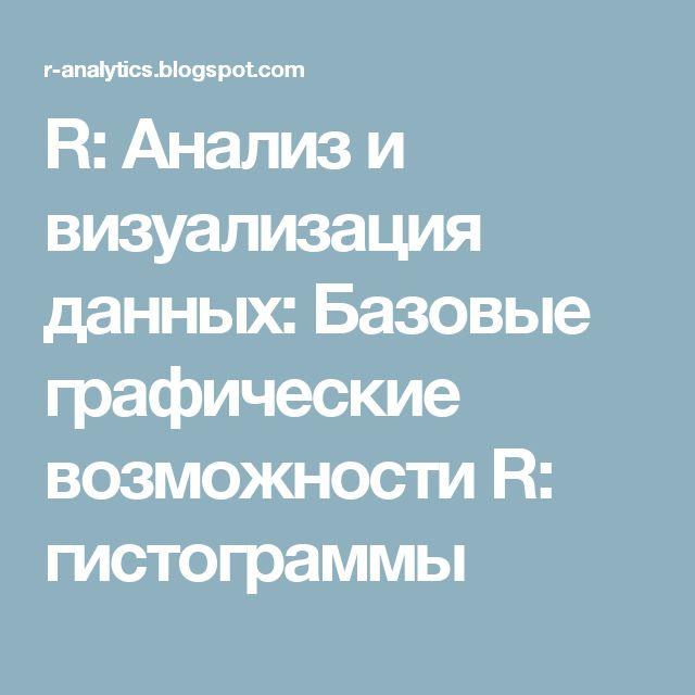 R: Анализ и визуализация данных: Базовые графические возможности R: гистограммы
