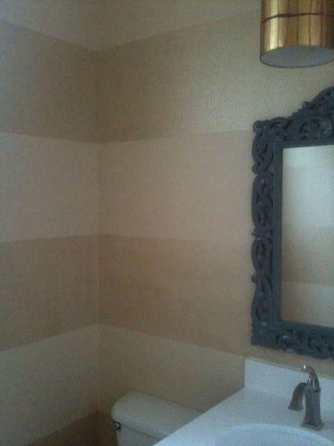 Stunning Bath Walls Tone On Tone Fauxed Stripes Using Champagne