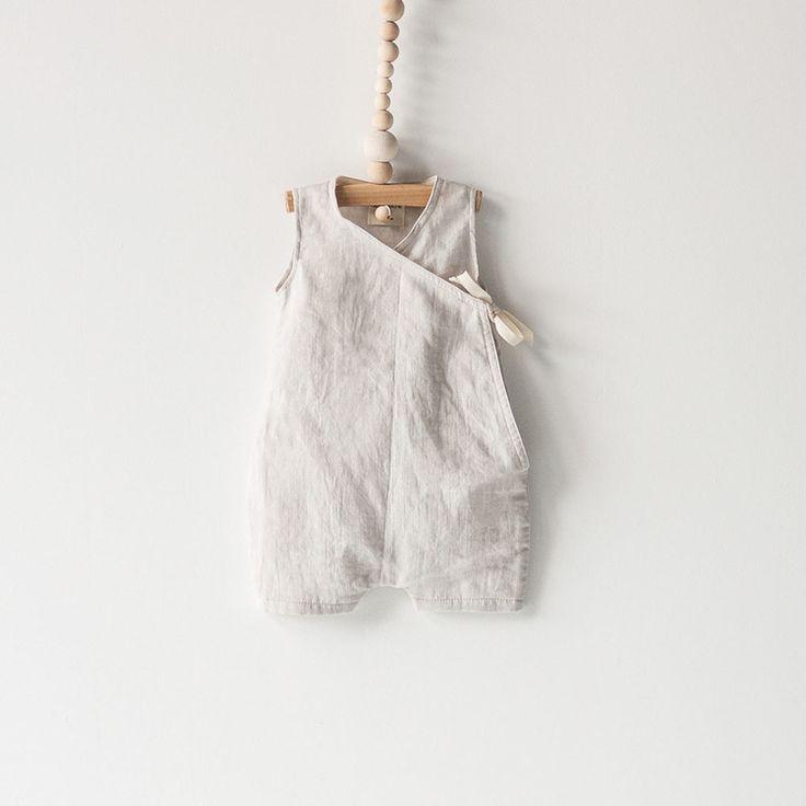 Baby Kimono Romper Dove Grey