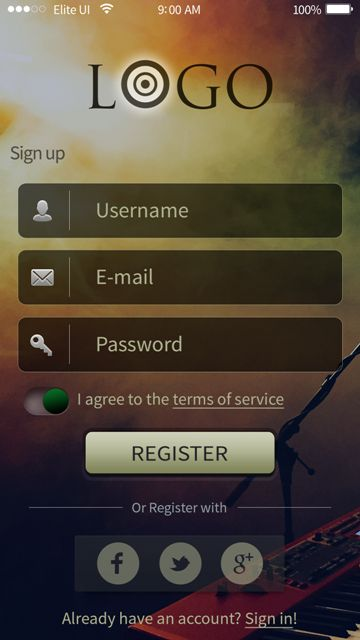 Beautiful registration screen for a music app. Visit our site for more awesome UI designs!