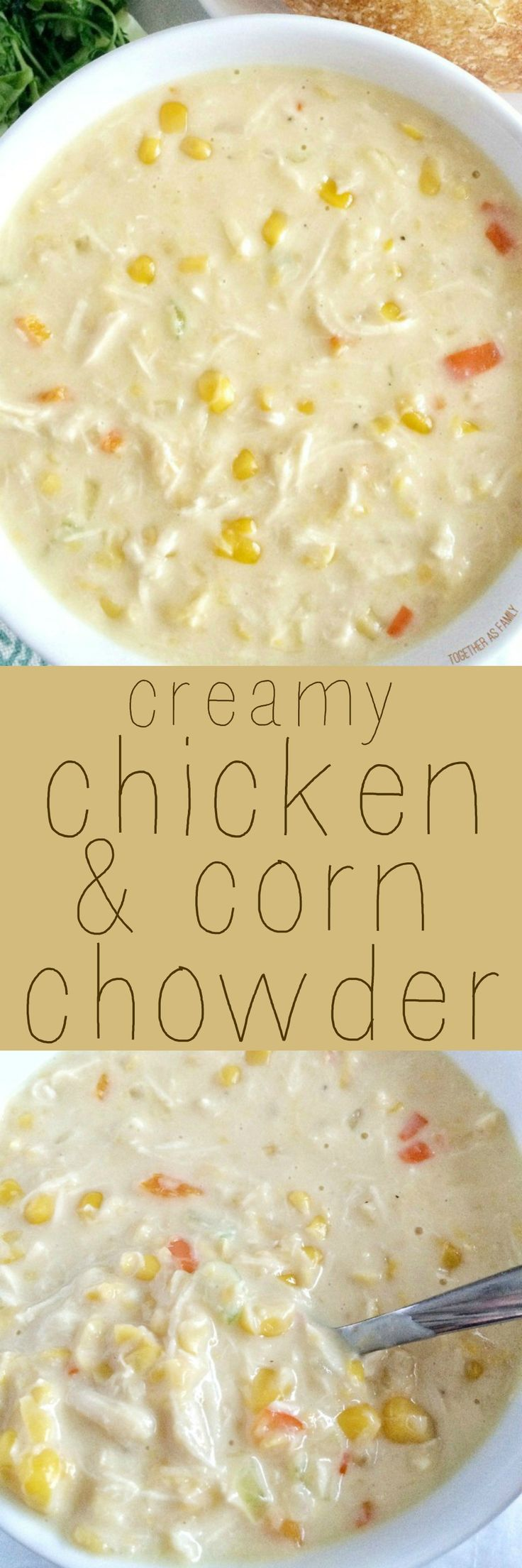 Warm up to big bowl of this creamy corn & chicken chowder. Comes together in 20 minutes so it's great for a busy weeknight meal!