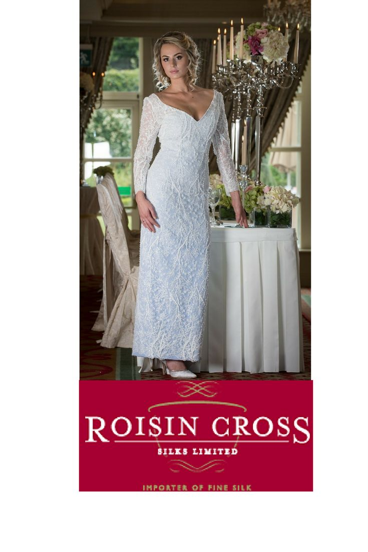 Ivory Silk Crepe with Beaded Corded Lace Overlay, Featuring Full Length Sheer Lace Sleeves with Scalloped Edge