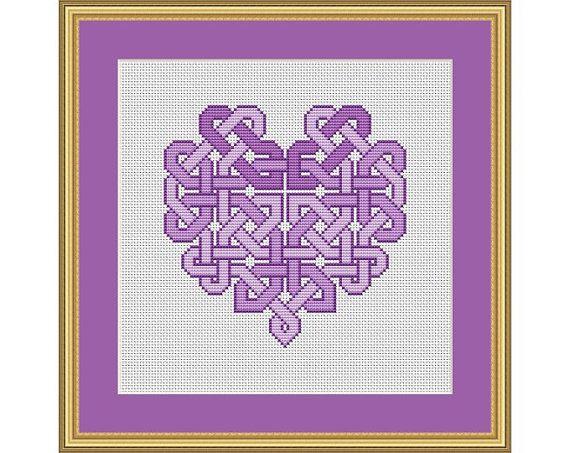 Celtic Knotwork Heart PDF Cross Stitch Chart por HollysHobbiesUK