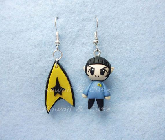Earrings Captain Spock  Star Trek by KawaiiandCute2008 on Etsy