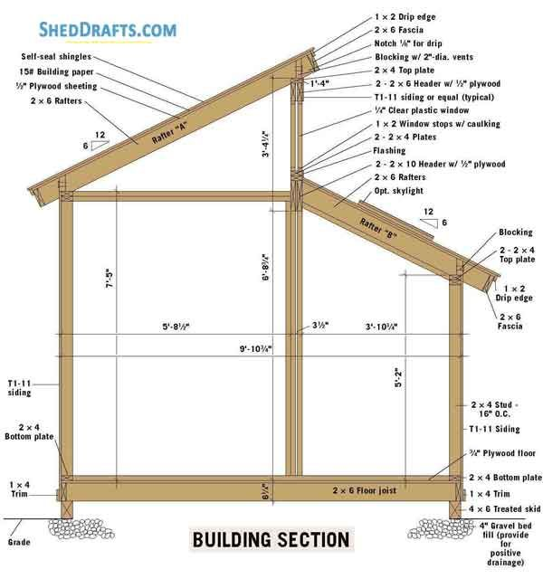 10x10 Clerestory Shed Plans Blueprints 01 Building Section Wood Shed Plans Shed Design Building A Shed