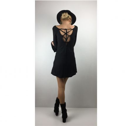 Siyah Sırt Dekolteli Mini Elbise Mini Black Dress With Lace Up Back