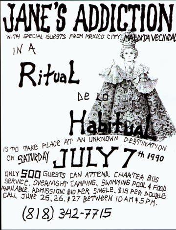 1990 Jane's Addiction handwritten flyer