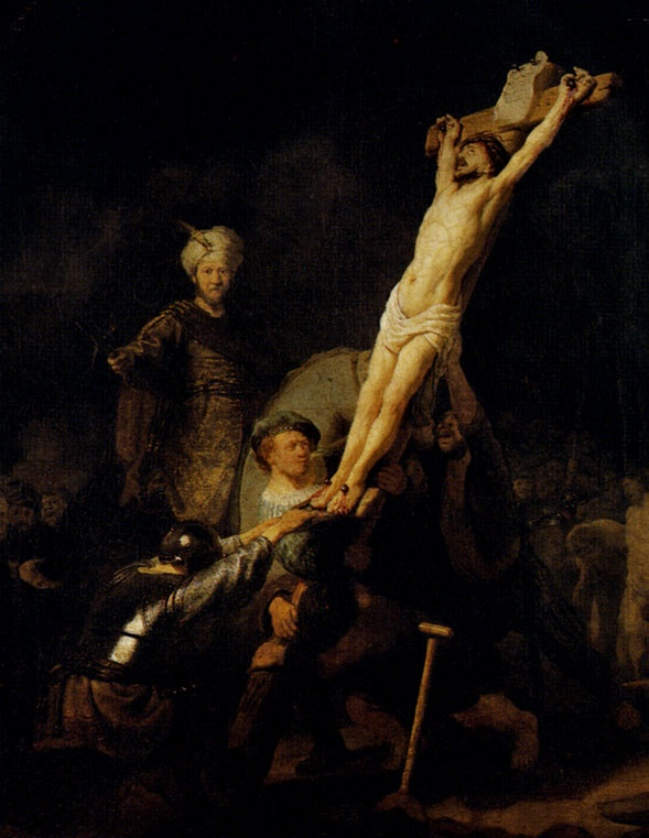 Rembrandt painted himself into this picture of Jesus on the cross.