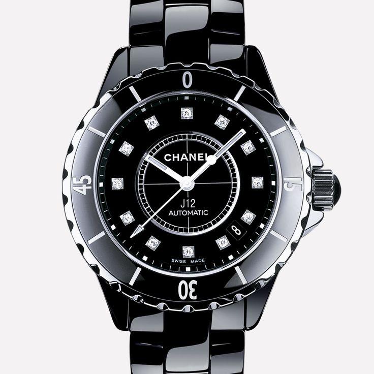 CHANEL J12 Watch Black ceramic and steel, diamond indicators
