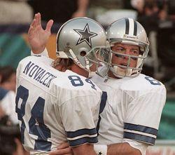 As Dallas Cowboys teammates, Troy Aikman (right) and Jay Novacek were close friends. Novacek lost his wife, LeAnne, to suicide last week.