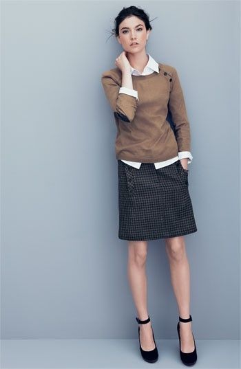 I'd probably forgo the buttons on the sweater ~ love the little checks on the skirt! #PersonalLeadership #Women