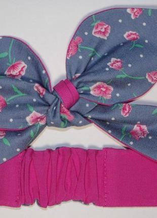 Джинсовая повязка pin up для стильных девушек солоха с розовыми цветочками (Hand Made)  за 50 грн.
