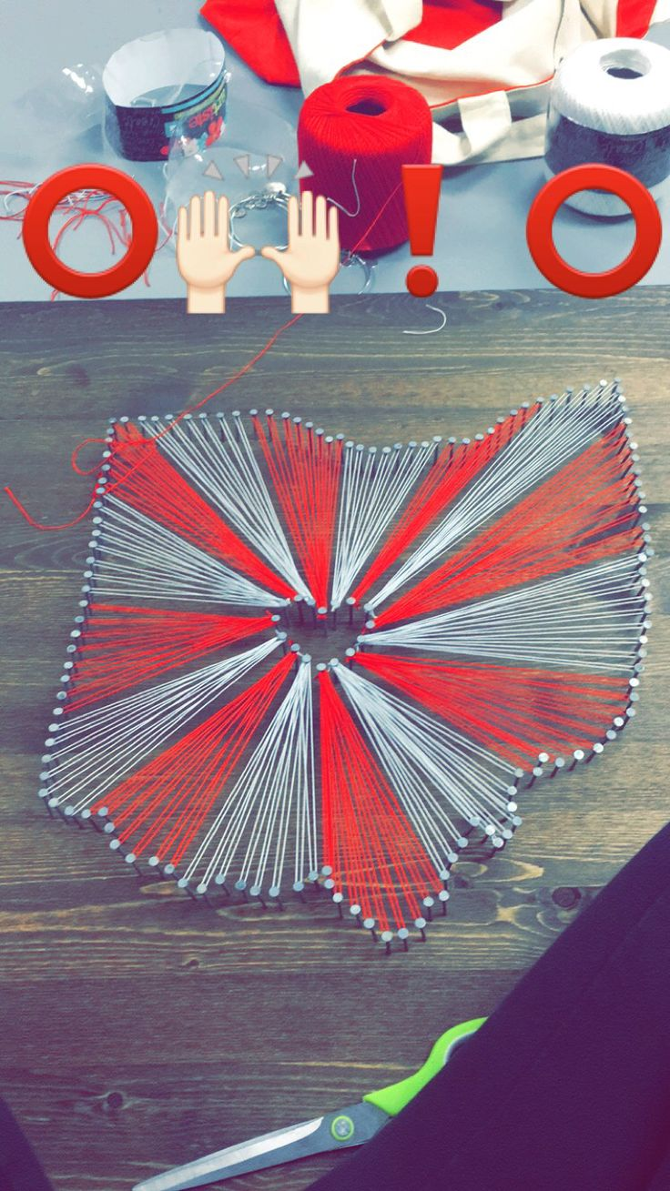 Ohio State nail and string art