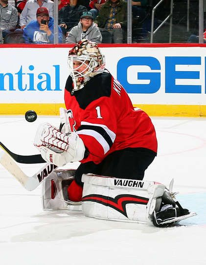NEWARK, NJ - OCTOBER 20: Keith Kinkaid #1 of the New Jersey Devils makes a save against the San Jose Sharks during the game at Prudential Center on October 20, 2017 in Newark, New Jersey. (Photo by Andy Marlin/NHLI via Getty Images)
