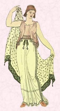 Grecian dress worn by women and men of ancient Greece. This garment was very long in length reaching the feet. This dress included border to create a drapery look plus. The knack is also wrapped around the dress to create the, Grecian dress design.