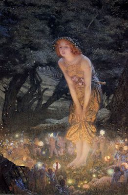 Midsummer Eve by Edward Robert Hughes she discovers the fairys...magical...ethereal