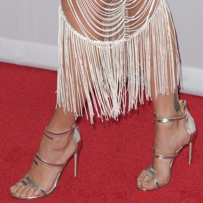 1e4224550ca Rita Ora showing off her feet in Sergio Rossi  Karen  sandal heels