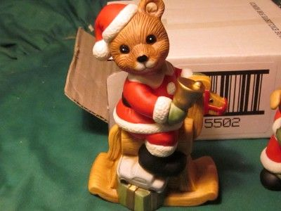Homco home interiors 5502 mr miss christmas bears porcellain figurine