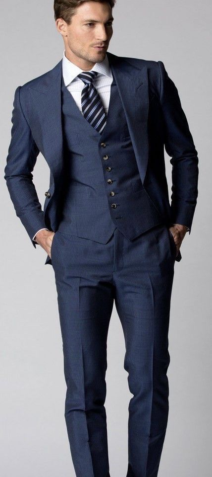 simple suiting inspiration with a navy three piece suit white shirt  simple suiting inspiration with a navy three piece suit white shirt navy gray striped tie model unknown suit menswear gentlemen classy menstyle
