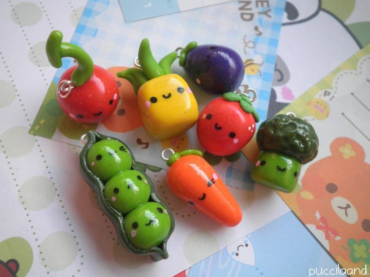 polymer clay charms that carrot and those peas are adorable