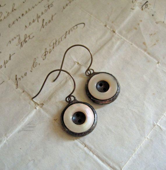 Vintage Button Earrings Jewelry