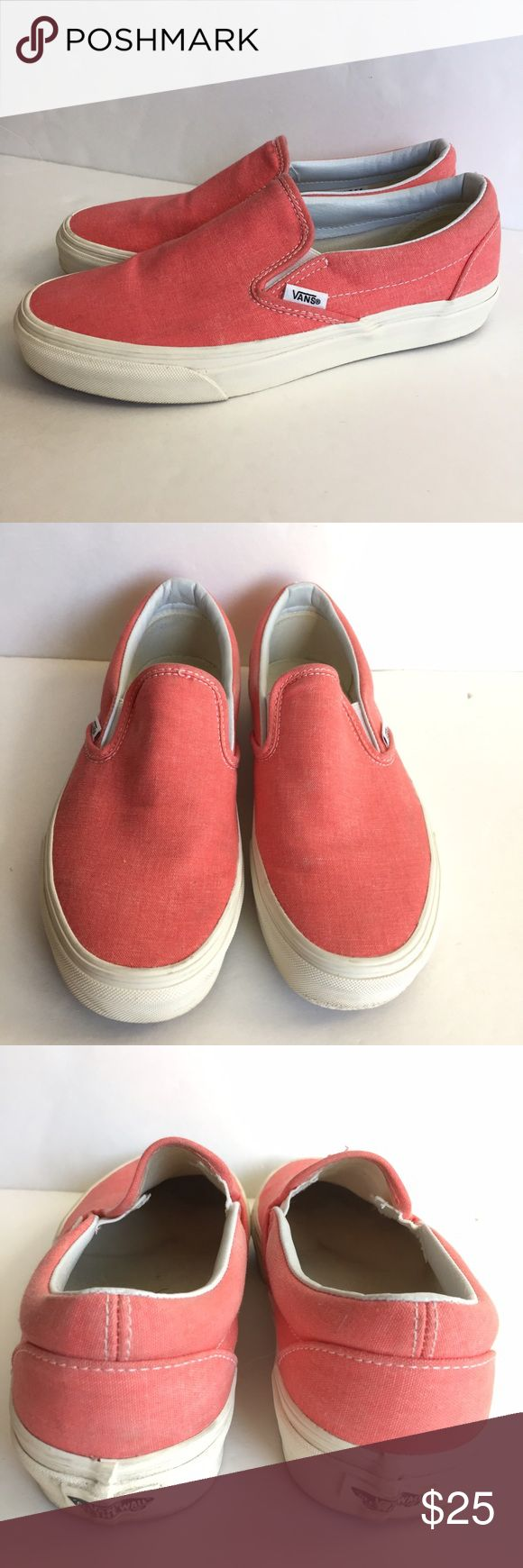 (Washed) Hot Coral Vans •Unisex •Canvas upper •Slip-on design  •Waffle sole •True to size •Fair condition  •Sold w/ box Vans Shoes Sneakers