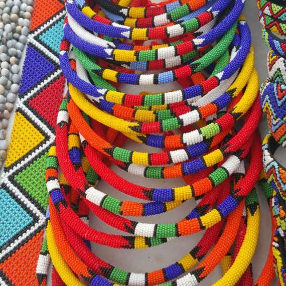 Assortment multipurpose traditional Zulu Beaded Necklaces/hairband. Each for only $15. Wearing a combination of 3 or 4 would pop up any outfit. Can also be worn on the head as a hairband.