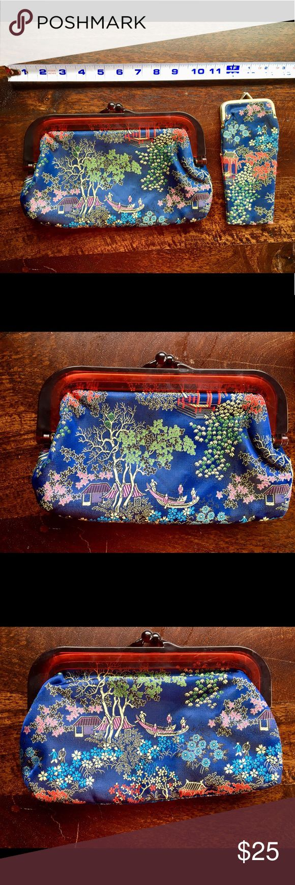 Vintage Asian-inspired Clutch and Eyeglass Case Gorgeous and in excellent vintag…