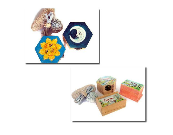 Baules de madera con cierre Baul hexagonal Baul pintado a mano Baul con paisaje Baúl sol Baúl luna Caja con cierre Regalo especial Joyero de ElTallerdeRuna en Etsy
