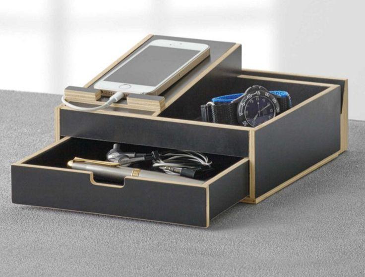 New Black Dresser Valet Men Storage Wallet Phone Watch Organizer Nightstand  Tray In Jewelry U0026 Watches