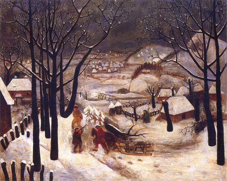 Tadeusz Makowski - Polish Winter. Oil on canvas. 1918. Exhibited at National Museum, Warsaw, Poland