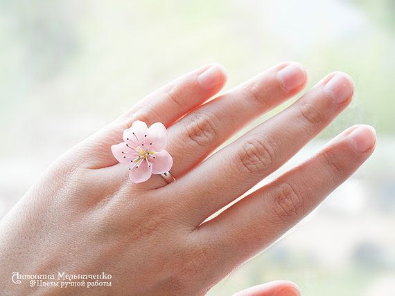 Ring Sakura Peach Polymer Clay Flowers Mothers Day Gift