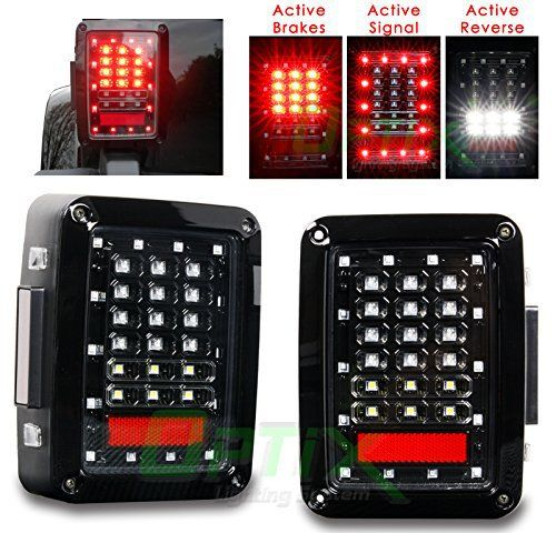Optix LED Tail Light Brake and Turn Signal Lights for Jeep Wrangler JK JKU