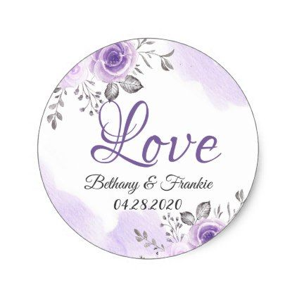 Romantic Chic Pastel Purple Floral Love Script Classic Round Sticker - love gifts cyo personalize diy