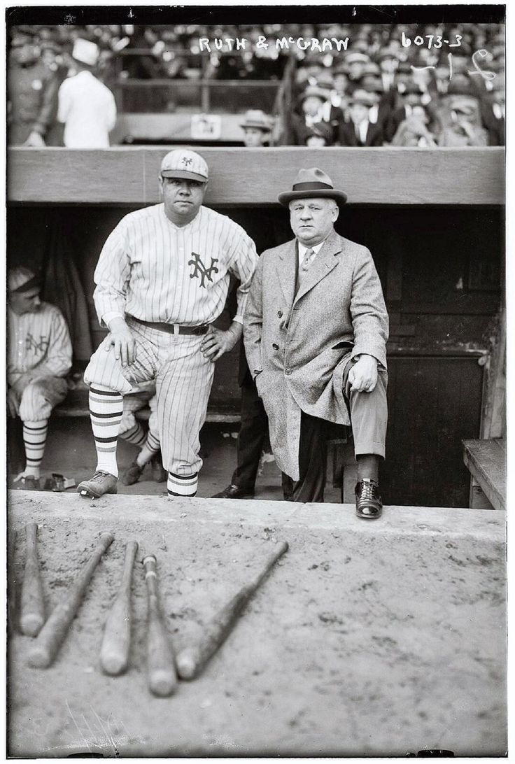 Rare photo from 1923 of Babe Ruth and legendary Giants manager John McGraw. Although he never officially played for them Ruth is shown wearing a Giants uniform as he played in a game for charity.