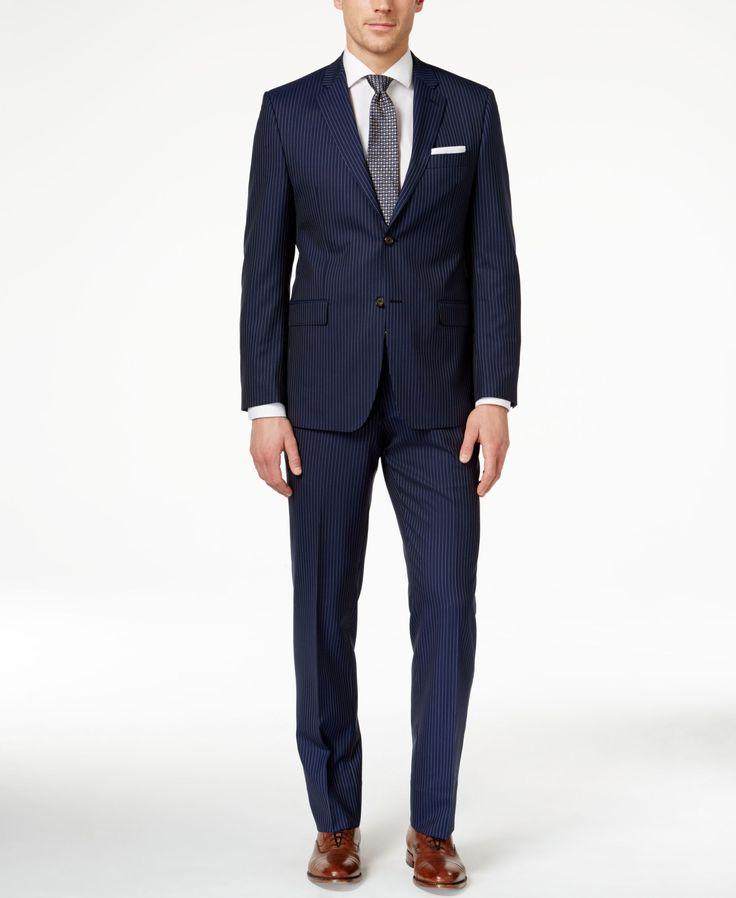Lauren Ralph Lauren Men's Big & Tall Slim-Fit Navy Striped Suit