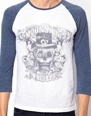 Image 3 ofASOS 3/4 Sleeve T-Shirt With Skull Print