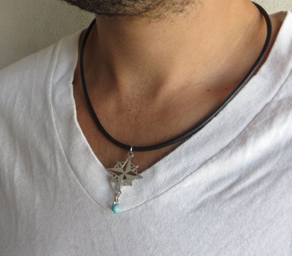 "Men's Necklace - Men's Compass Necklace - Men's Silver Necklace - Mens Jewelry - Necklaces For Men - Jewelry For Men - Gift for Him  Looking for a gift for your man? You've found the perfect item for this!   The simple and beautiful necklace combines black leather chain and a silver plated compass pendant and a turquoise bead.   Length: 19.6"" (50 cm ) $33"