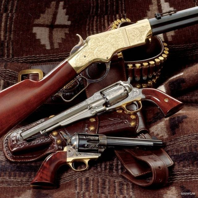 Henry Yellow Boy, Remington New Army, and a Colt Peacemaker.Find our speedloader now!  http://www.amazon.com/shops/raeind