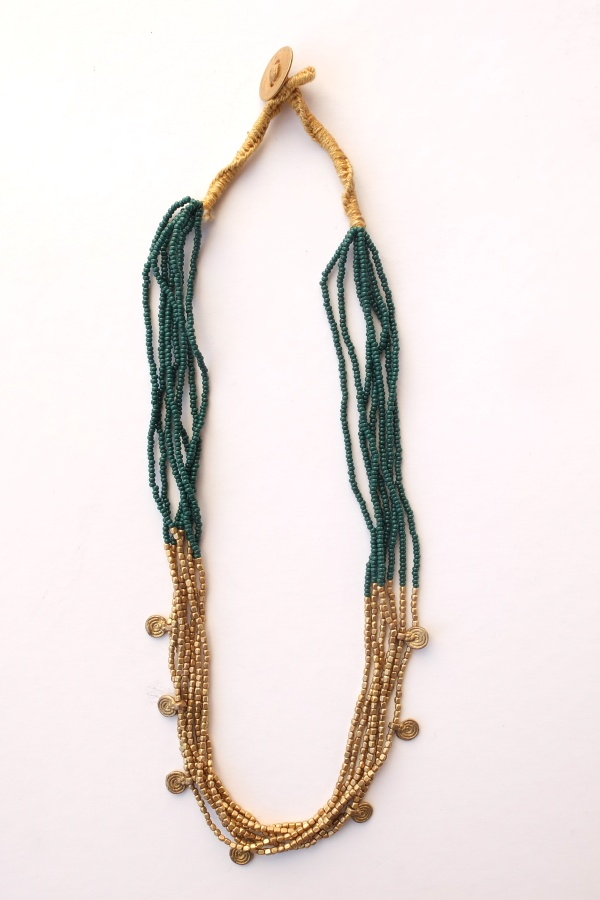 This model combines fine green glass (available also in brown and black) and golden brass and hanging spirals.