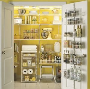 I like the idea of painting the inside of the pantry a bright color.