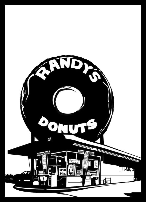 Randy's Donuts - Illustration by Jonathan Tolleneer, via Behance