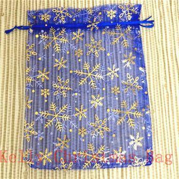 10pcs/lot Organza Bag 17x23cm Royal Blue Christmas Jewelry Gift Packaging Bags, Gold Snowflake Print Organza Gift Bags Pouches