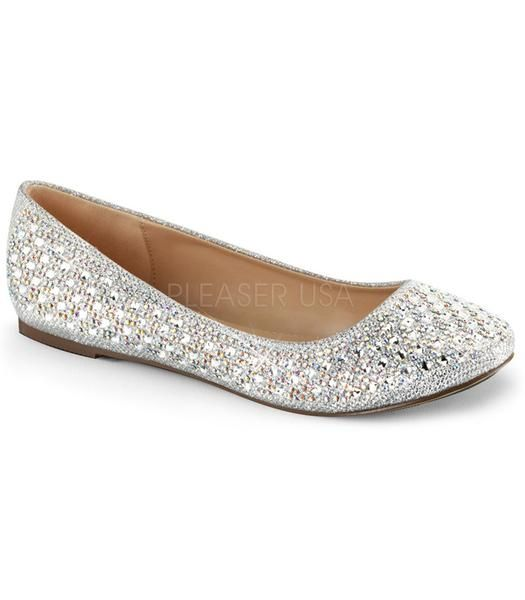 Silver Sparkle Ballet Flats by Fabulicious.  Shoes are perfect for a night on the town.  Perfect flats when you need to switch from heels to flats.  These classic formal flats. All man made materials. If you're in between sizes, we recommend you order the next size up.