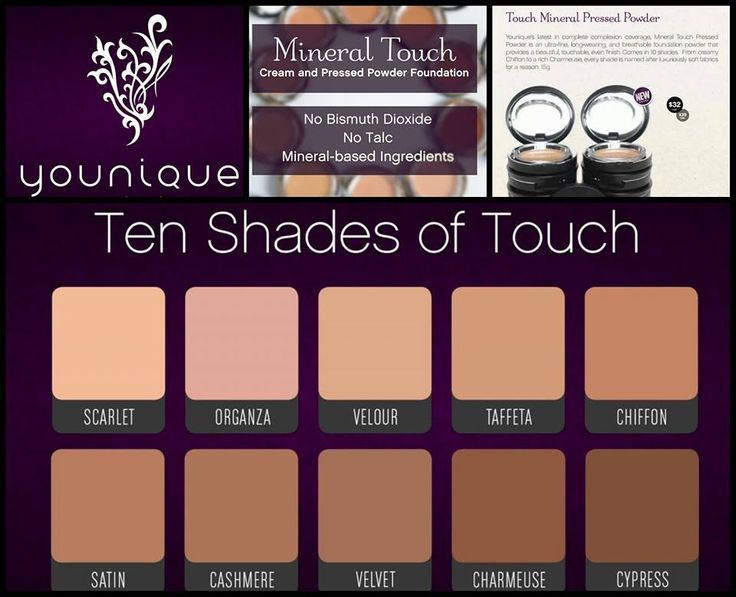 Love this chart and info about the 10 shade of the Younique Touch Cream and Pressed Powder Foundations!
