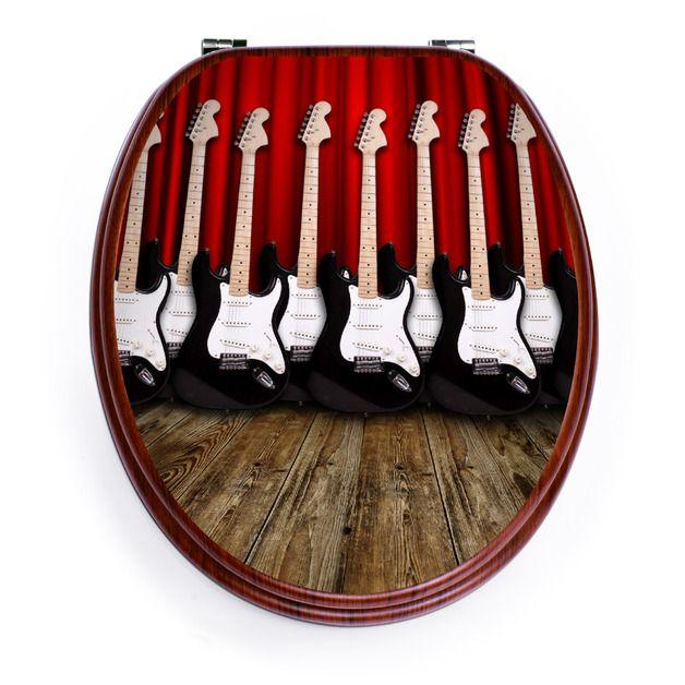 Weiteres - Holzoptik Toilettensitz mit Motiv E-Gitarren - ein Designerstück von banjado bei DaWanda