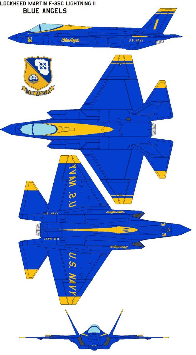 """Lockheed Martin F-35C Lightning II Blue Angels The Blue Angels have flown over 10 different aircraft in the team's 65 year history. Originally, the team flew four aircraft in the signature """"Diamond..."""