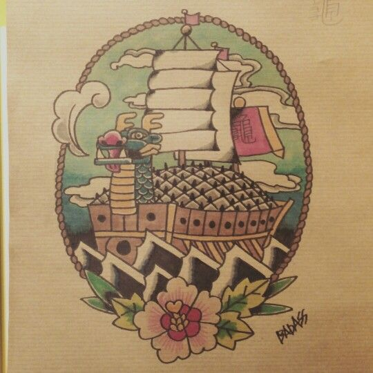 Badass Tattoo Flash. Korean turtle ship. By Badass Tattoo ...