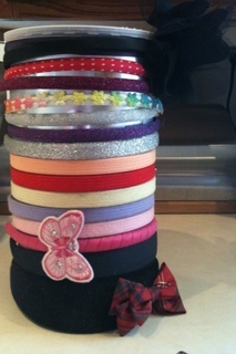 headband holder - oatmeal can..made it for Abby!